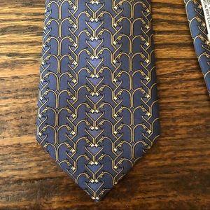 Nice Navy & Gold Horse Hermès Silk Tie EUC